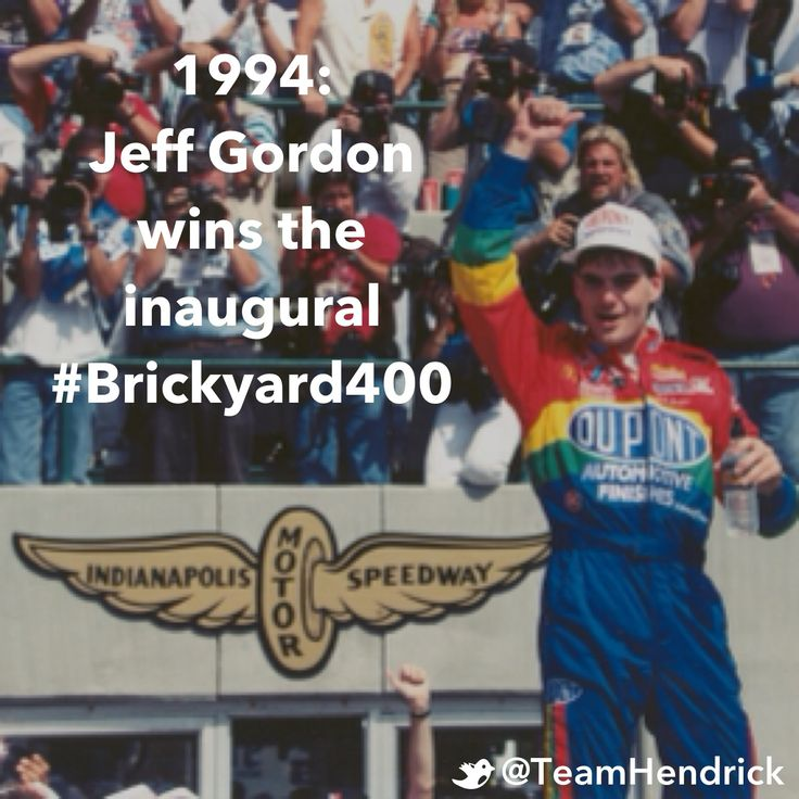 Jeff Gordon's second career win turned out to be one of the most memorable of his career. In NASCAR's first race at Indianapolis Motor Speedway, the Hendrick Motorsports driver led 93 laps and won the inaugural Brickyard 400. The 1994 event was especially significant for Gordon, who grew up in Pittsboro, Ind., dreaming of racing at the historic track.