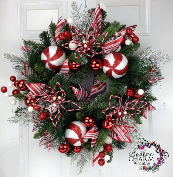 CHRISTMAS Peppermint Candy Themed Wreath by SouthernCharmWreaths, $87.00