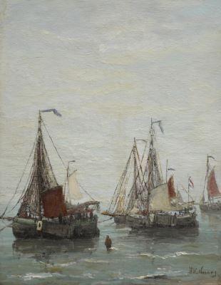 Hendrik Willem Mesdag (Groningen 1831-1915 Den Haag) Fishing boats anchored off the beach - Dutch Art Gallery Simonis and Buunk Ede, Netherlands.