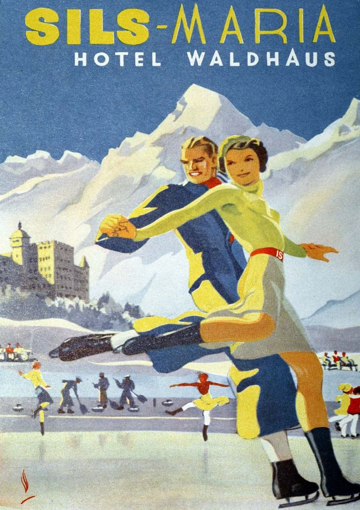 Vintage travel poster for Hotel Waldhaus in Sils-Maria, Switzerland with ice skaters.   Vintage Travel Switzerland winter sports ice skating