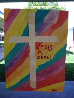 """Apples and ABC's: Easter Cross (This one uses water color over the painter's tape.  Also, the kids write """"Jesus is Alive!"""" in crayon before painting.)"""