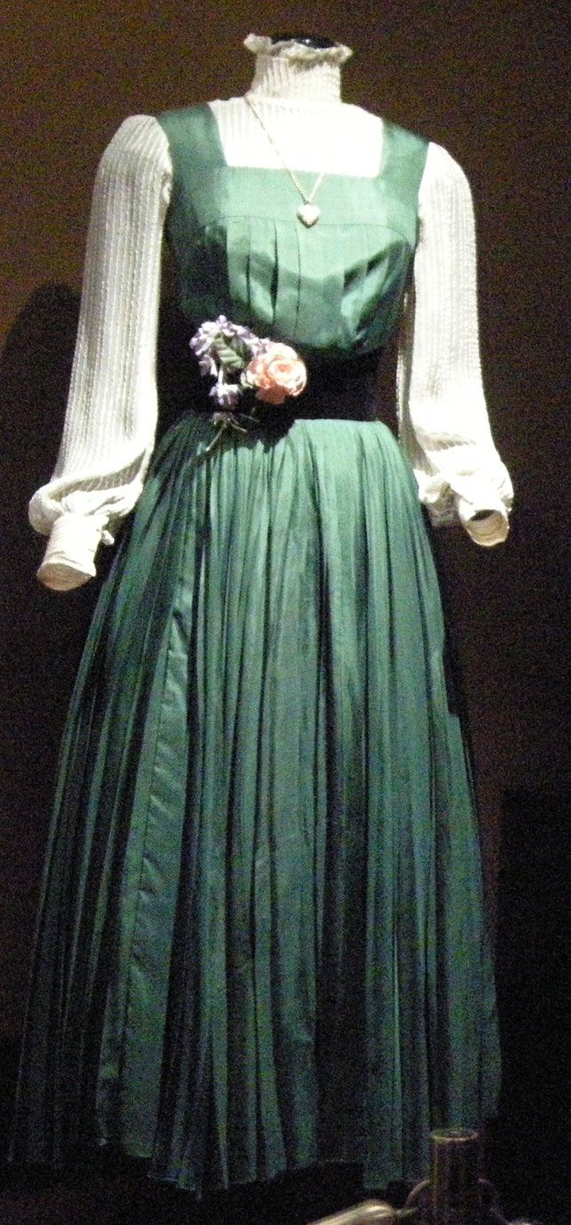 green silk dress designed by Cecil Beaton for Eliza Doolittle (Audrey Hepburn) in My Fair Lady (1964)