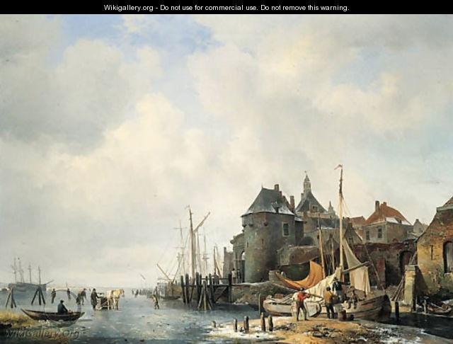 Een gezigt van de Rietdijkse Poort en het Hoofd te Dordrecht, bij winter   by Hendrikus van den Sande Bakhuyzen