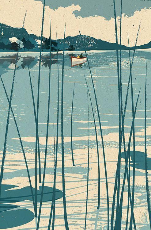 Mark Smith Lake illustration nice color palette