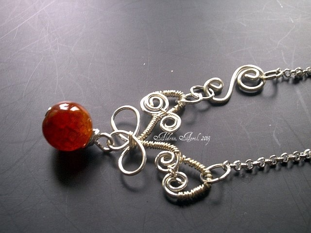 Fire agate and silver plated wire necklace