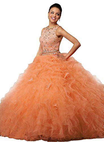 ccda60b4efff67 ANGELA Women s Lace Crop Top Long 2 Piece Quinceanera Dress Ball Gown Party  Dresses Orange 16 in 2019