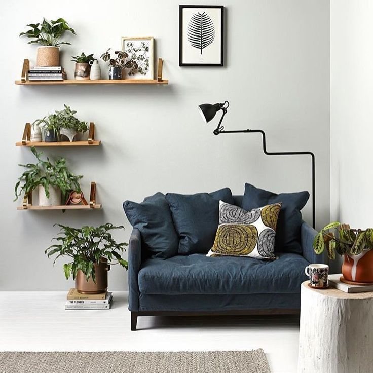 replacing back couch cushion with smaller cushions - relaxed style. wooden shelving for plants