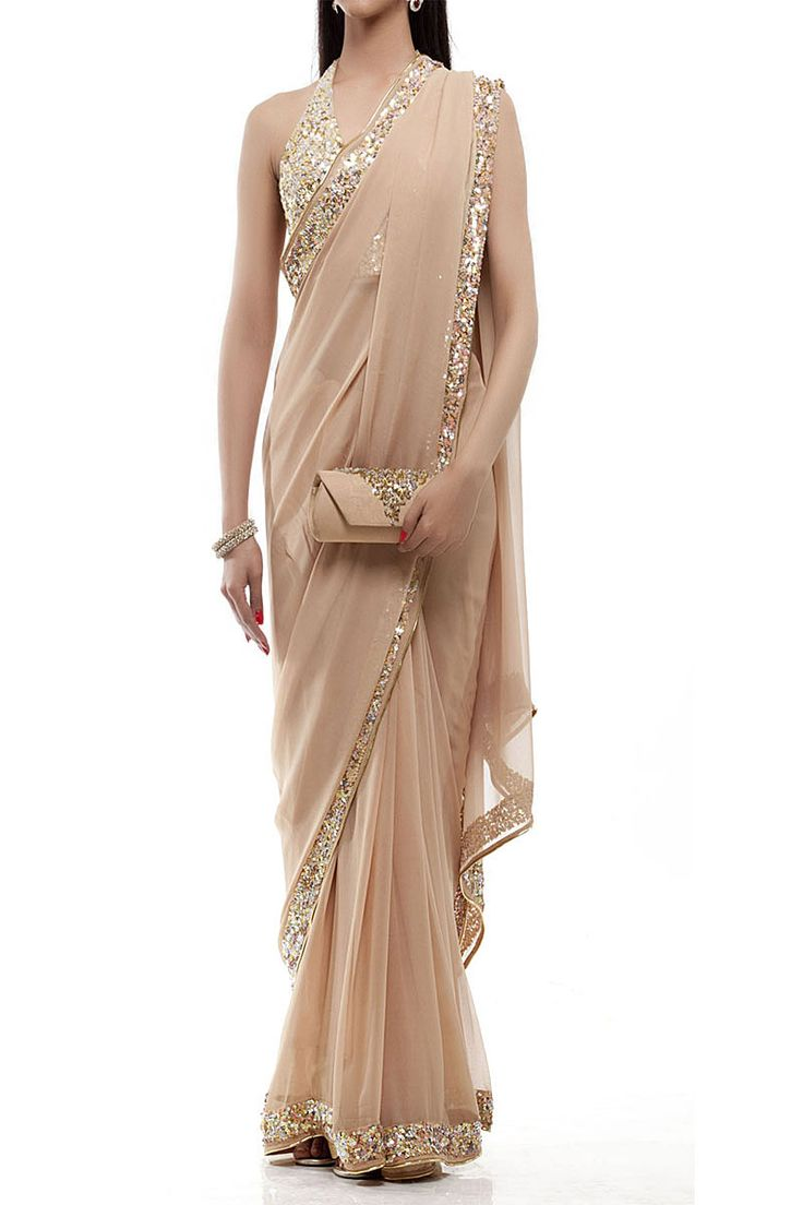 Nude Champagne Saree — Inanna — Traditional Sarees | Indianhanger.com 136