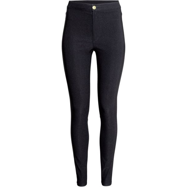 H&M Trousers High waist ($19) ❤ liked on Polyvore featuring pants, jeans, bottoms, trousers, black, high rise pants, blue high waisted pants, h&m pants, highwaist pants and highwaisted pants