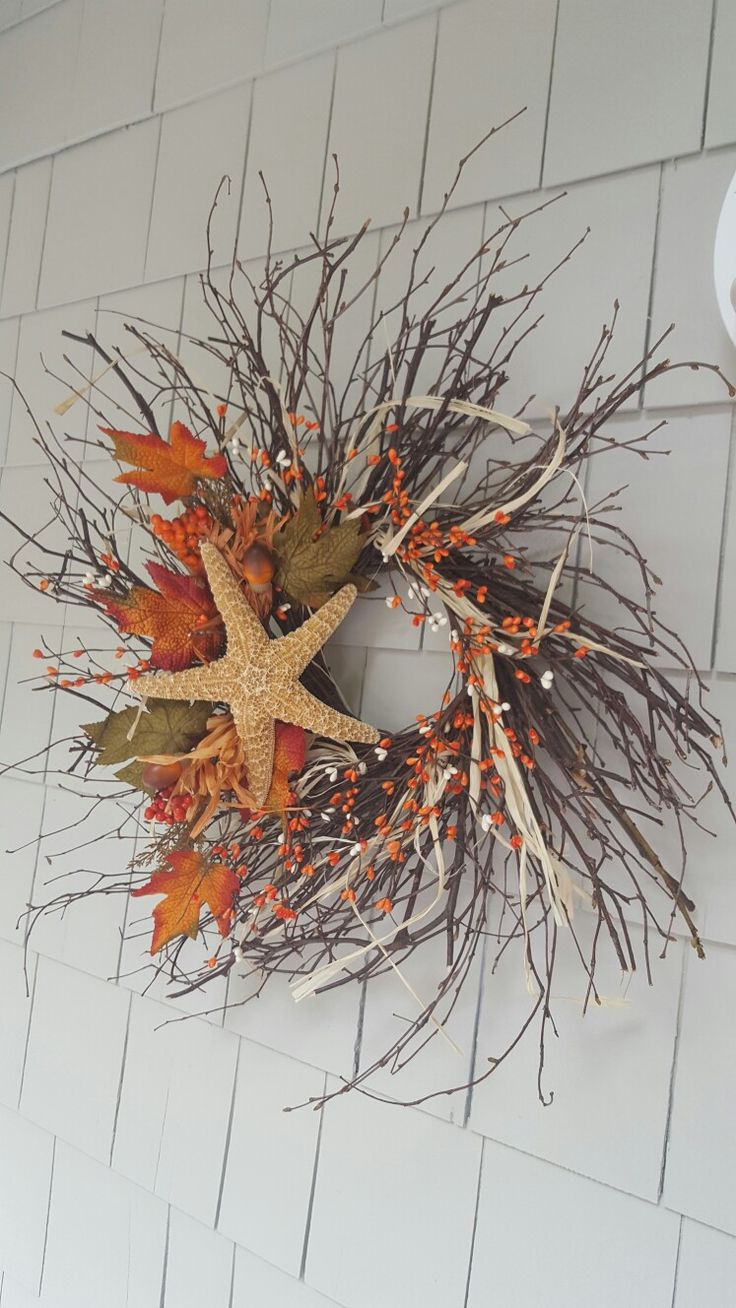 Beachy Fall...I made this from scratch, but you could add shells to a premade wreath.