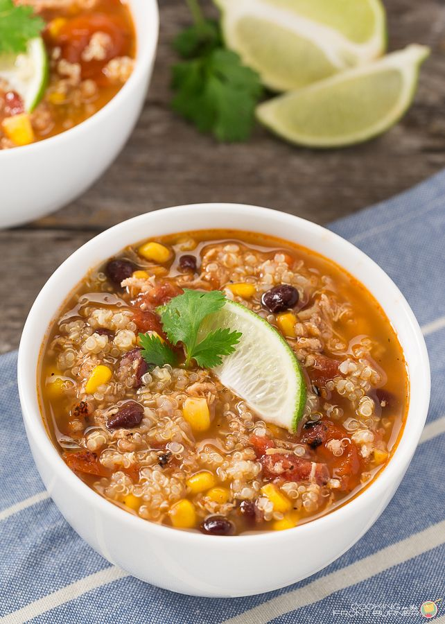 This Southwest Chicken Quinoa Soup from Cooking on the Front Burners - all power foods. Quinoa is seasoned and cooked in the broth of the soup, so this may not do well as leftovers.