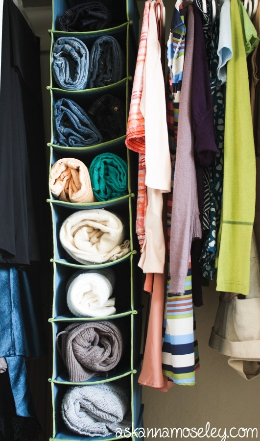 hanging shoe organizer - roll sweaters, sweatshirts, jeans... no wrinkles, more drawer space!