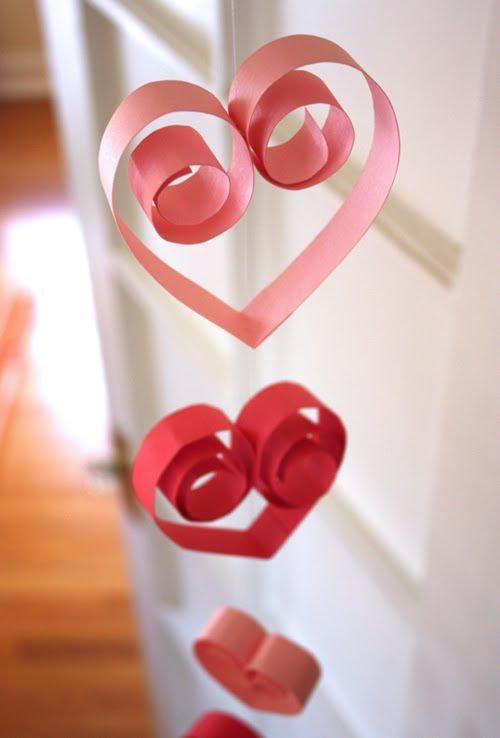 hanging paper hearts for valentines day