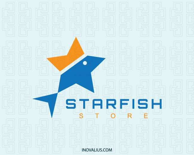 Logo in the shape of a star together with a fish with yellow and blue colors. (star, fish, sea, fishing, animal, crown, mascot, sushi, abstract, pet store, tropical fish, sea star, starfish, marine fish, fish star,  logo for sale, logo design, logo, lototipo, logotype).