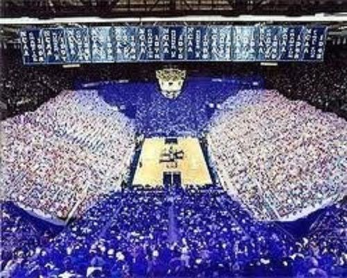 Rupp Arena. Kentucky blue and white. The rupp arena is where the basketball games are played and be able to go to a game is a dream come true for a UK student. It is so difficult for students to get a ticket but since this is true why don't they build a bigger stadium? They are planning on building a larger stadium because the attendance has raised a lot over the last few years especially..
