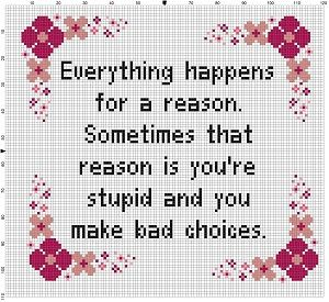 Everything Happens for a Reason  Modern Cross by SnarkyArtCompany