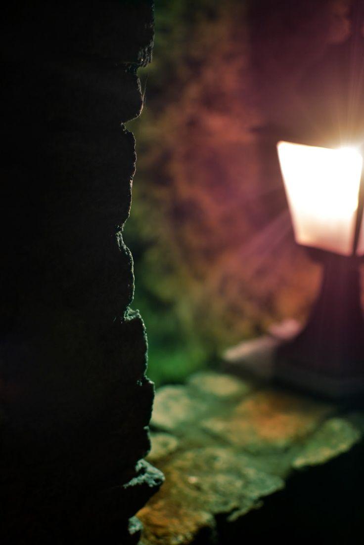 Lantern, night, light, garden, colorful