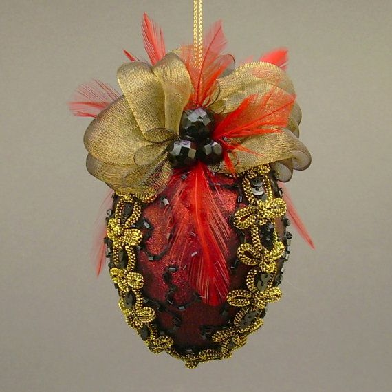 """""""Caprice No.1"""" by Towers and Turrets - Metallic Red Lamé and Black Beaded Silk Christmas Ball Ornament with Czech Glass Beads and Feathers - Victorian Inspired, Handmade Towers and Turrets"""