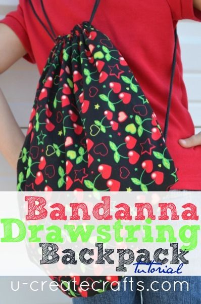 Drawstring Bandanna Backpack Tutorial u-createcrafts.com