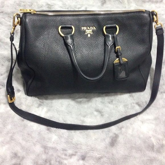 Authentic Prada Daino Leather Bag! Calfskin black pebble stone leather. Great condition! Very mild wear. Will show more pics, just ask :) Willing to lower using ️️ Comes with receipt, bag, shoulder strap, authenticity cards, and dust bag! Prada Bags Shoulder Bags