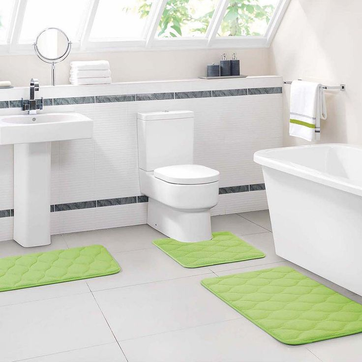 Vcny Ogee 3-pc. Memory Foam Bath Rug Set, Green