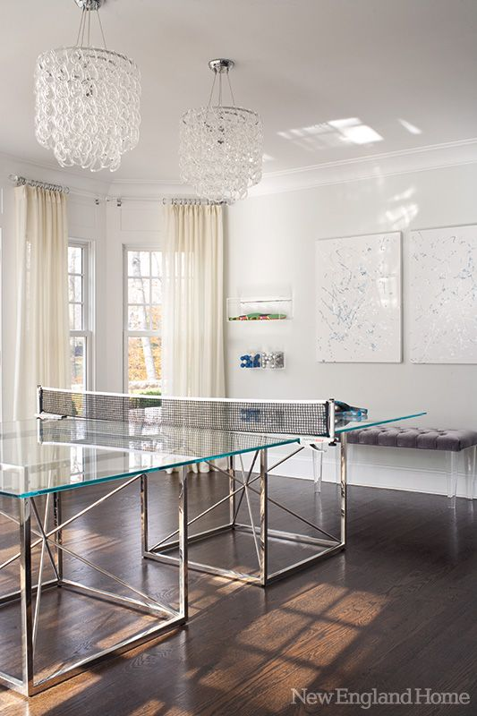 HOME TOUR- A modern and glamorous Greenwich home! Check out this lucite ping pong table!