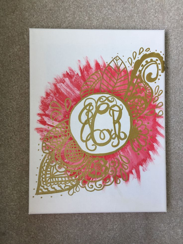 Painted canvas with gold sharpie for a metallic gold effect!
