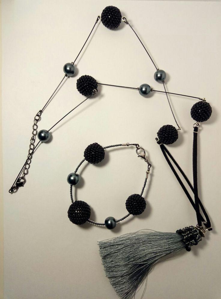 Комплект минимализм, браслет и бусы с подвеской. Делайте заказы!)