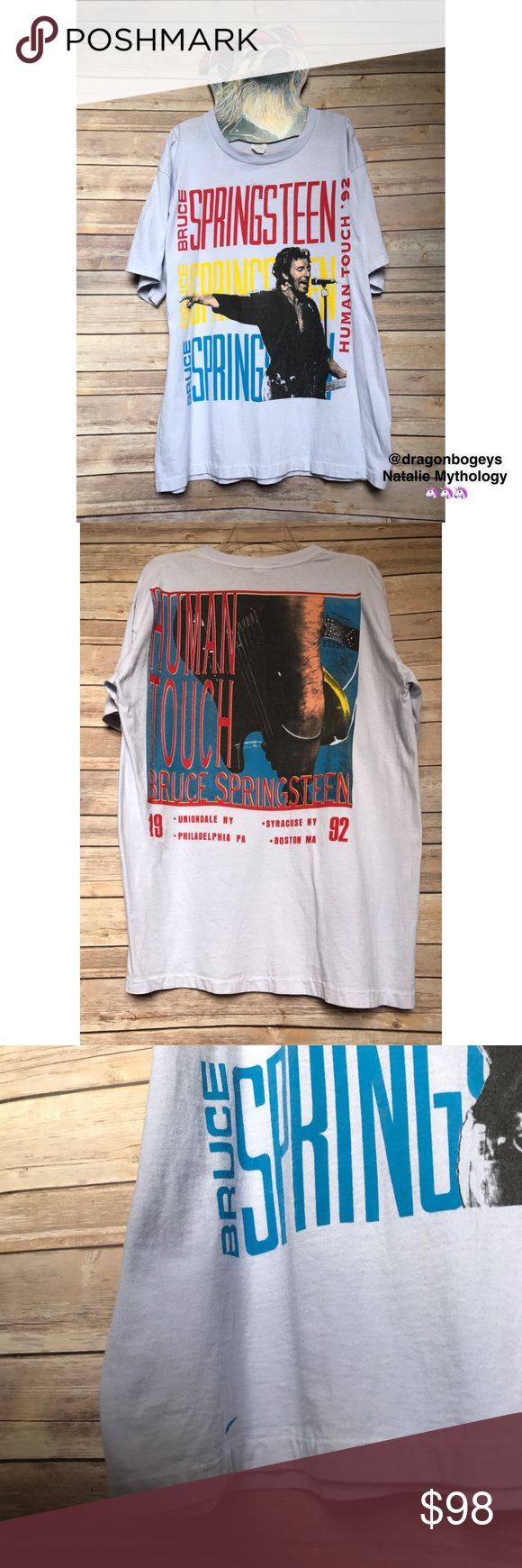 Vintage Bruce Springsteen Tour Tee Vintage tour shirt purchased in Philadelphia at the Bruce Springsteen 1992 Human Touch tour. This tee has four tour dates on the back - Uniondale, NY • Syracuse, NY • Philadelphia, PA • Boston, MA. Shirt is faded and weathered, but still in great shape considering its age. Would be perfect for a DIY project as a festival shirt. This shirt is hard to find, don't let it slip away! Be one with The Boss 👍🏻 Vintage Shirts Tees - Short Sleeve