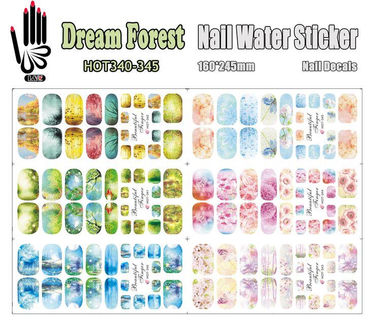 6 Hojas/Lot Nail Art HOT340-345 Sueño Bosque Cubierta Completa Película de Uñas Nail Art Water Sticker Decal Para El Clavo arte (6 DISEÑOS EN 1)