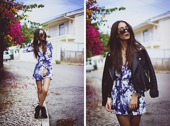 Leather jacket + playsuit combo. Zero Uv Sunnies, Missguided Playsuit, Missguided Boots