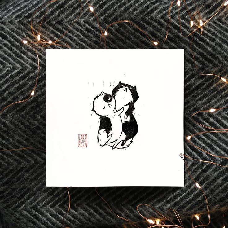 Chill cats linocut. Mini print 15x15cm  #linocut #hygge