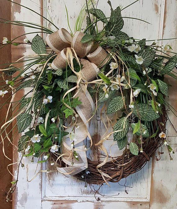 Front Door Wreath, farmhouse wedding wreath, Burlap Wreath, Greenery Wreath for All Year Round, Green Wreath, Natural Wild Front