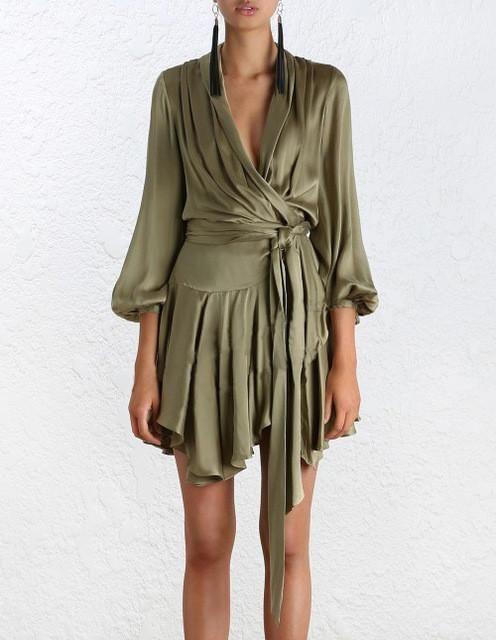 High Quality Summer Sexy Elagant Fashion Women Wrap Dresses Vintage Lantern Sleeve Asymmetrical V Neck Dresses Plus Size