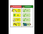 Grade 5 school routine -- packing up at end of day – Students flip items over from the Got Homework? box to the In Backpack box as they pack their backpack at the end of the day. This is designed as a page to be printed, then cut horizonally between yellow buttons. Matching velcro squares next to each button allows the student to flip the yellow buttons over on top of the green buttons.