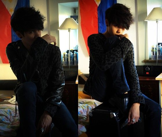 "Ymugen  夢幻 - H&M Leopard Sweatshirt, H&M Pants, Aliexpress Leather Jacket, Classy - ""Vicious Kxy"""