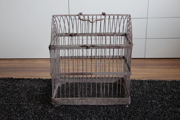 Vintage Aufbewahrung - Vintage Vogelkäfig (groß) mit schöner Patina - ein Designerstück von Weddstyle bei DaWanda
