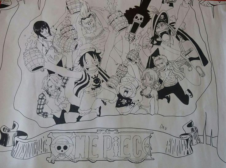 Dibujo hecho para el día del libro, del anime One Piece [Poster del 10 aniversario de la animación]. 2015