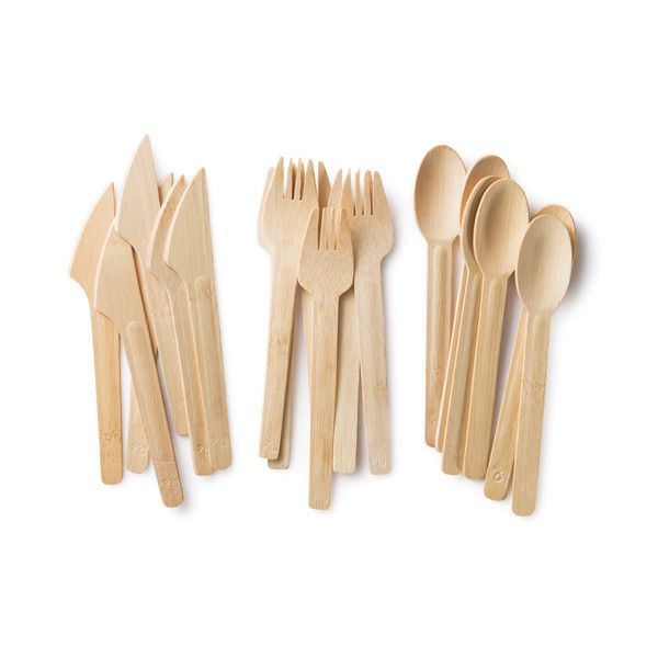 Certified organic bamboo cutlery (a renewable resource) cutlery.