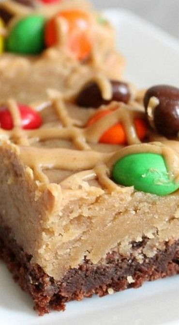 Peanut Butter Cookie Dough Brownie Bars | Recipe | Peanut ...