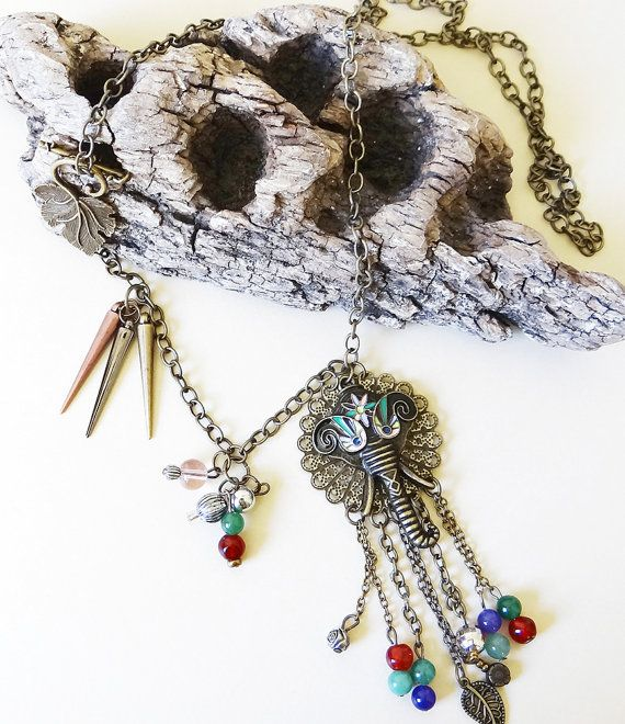 20% OFF AT CHECKOUT Boho Colorful Filigree and Elephant Chain Tassle Necklace with Chain Drops and Side Clasp in an Assymetrical Design