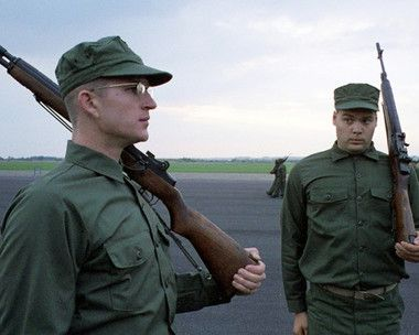 This image is from Full Metal Jacket and features Matthew Modine as Pvt. Joker and Vincent D'Onofrio as Pvt. Pyle