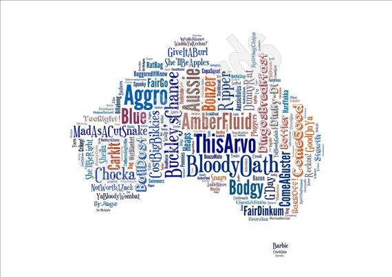 Australian Sayings Map - Funny Slang Phrases - Unique, Unusual Gift for Birthday, Australia Day, Leaving, Thank You