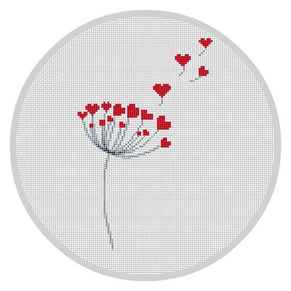Dandelion Cross Stitch Pattern Counted cross stitch pattern Hearts Away PDF Needlecraft Instant download Love cross stitch Modern chart X101