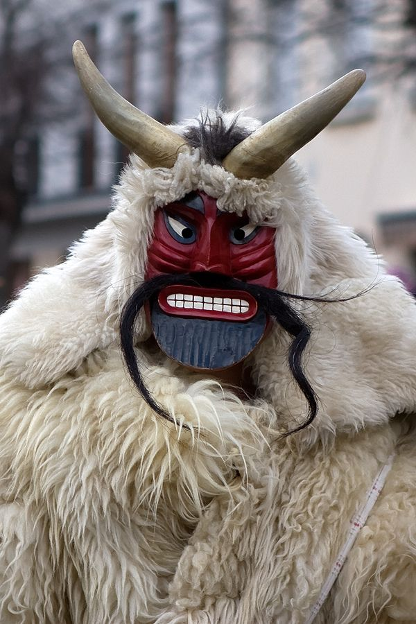 Busó Festivities in Mohács. People traditionally chase the winter away with wooden masks and march. Hungary