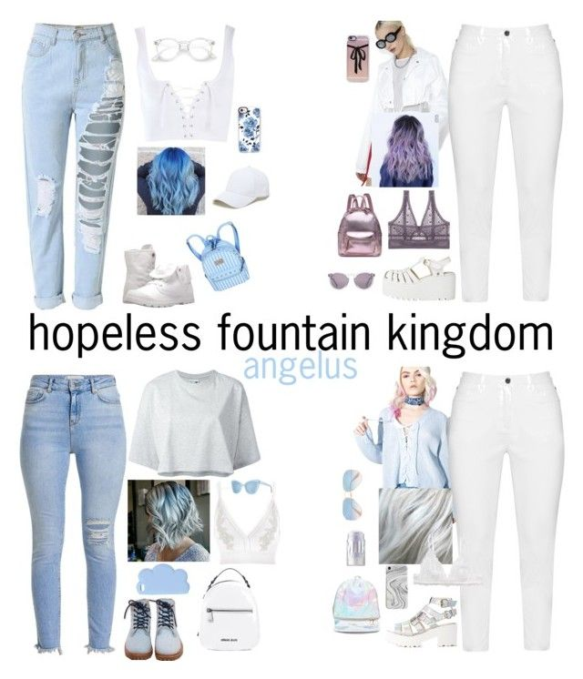 hopeless fountain kingdom - angelus - colored hair - halsey by halseywardrobe on Polyvore featuring polyvore fashion style Puma The Nude Label Topshop River Island Rojas Zhenzi ELSE Monki Palladium Timberland Armani Jeans 3 AM Imports Sole Society STELLA McCARTNEY Casetify Recover Ray-Ban Prism HOOK LDN MILK MAKEUP clothing