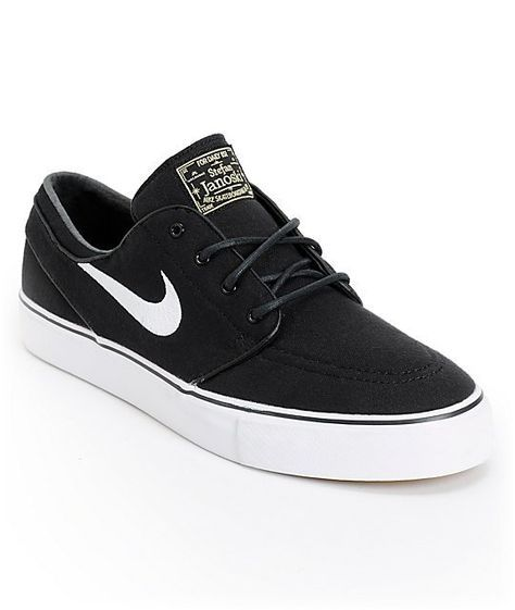 new products 36bbc d9ce0 Nike SB Janoski Black   White Canvas Skate Shoes in 2019   arvie   Nike sb  shoes, Nike shoes, Nike sb janoski