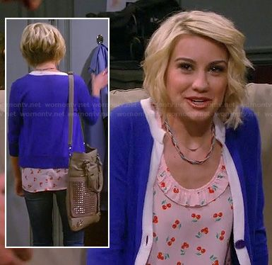 Riley's cherry print top with blue and white tipped cardigan on Baby Daddy.  Outfit details: http://m.wornontv.net/18600/