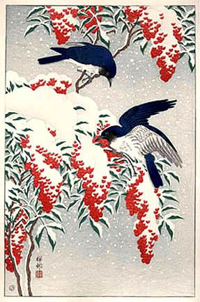 Ohara Koson (Japanese, 1877-1945).  Nanten Bush and Fly Catchers in Snow. 1929.