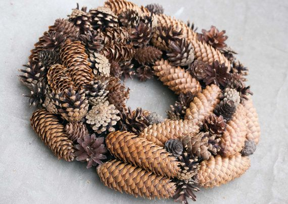Pinecone wreath   Christmas wreath   Rustic and by florasense, $45.00>>>would be fun to add poinsettia's or  cranberries for a pop of red!